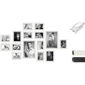 Bilderwand, 15 Rahmen mit praktischem Lineal für die Montage