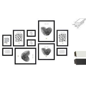 Bilderwand, 10 Rahmen mit praktischem Lineal für die Montage