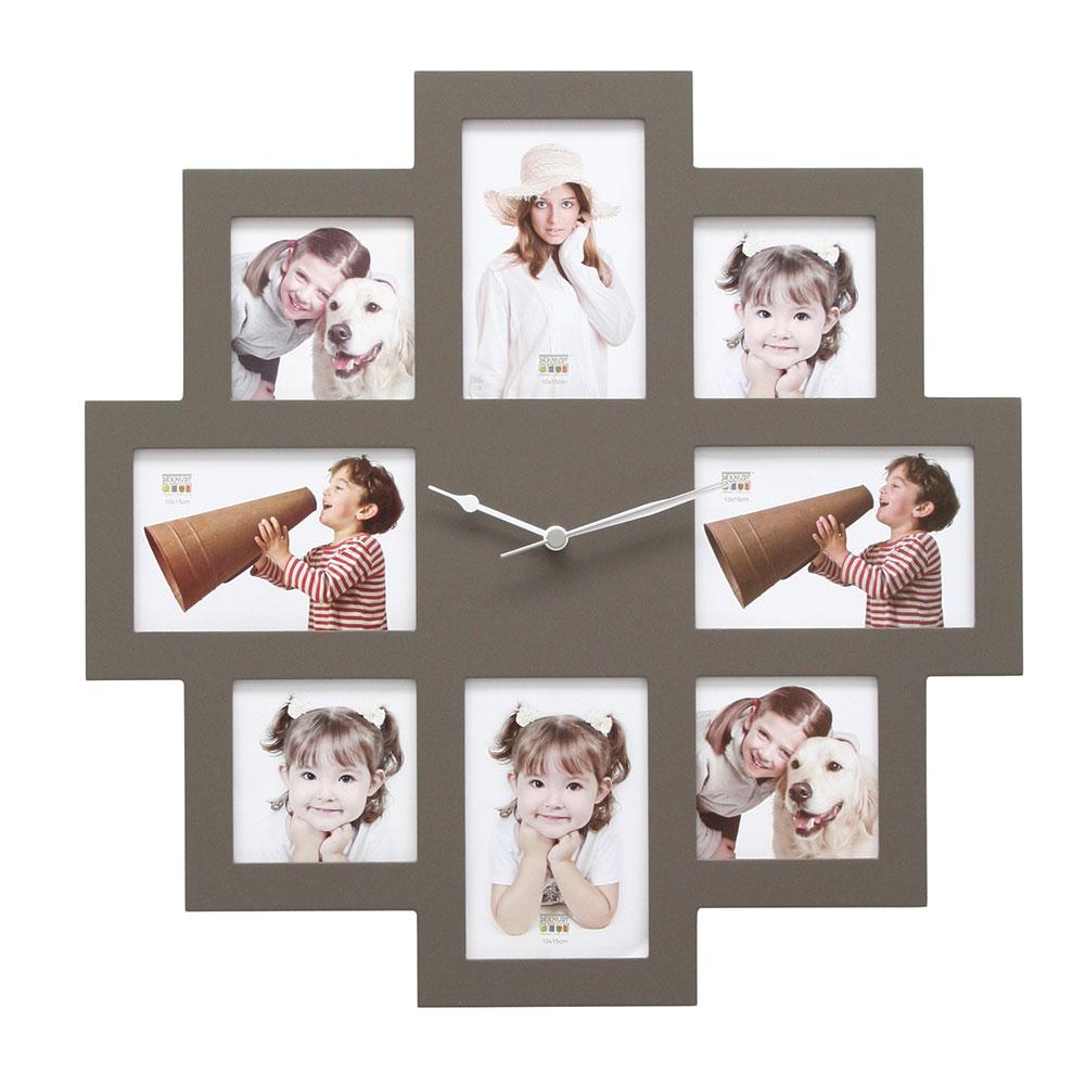 8er Wandgalerie mit Uhr