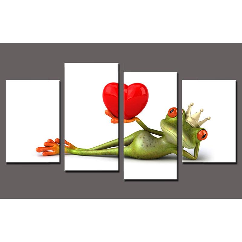 Keilrahmenbild Frosch 4-teilig
