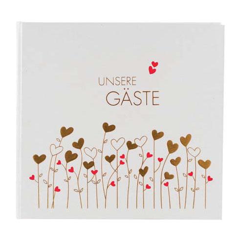 "Gästebuch ""Golden Hearts"""