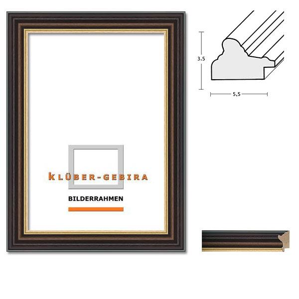 klueber gebira holzrahmen zamora dunkelbraun platte hellbraun goldkante normalglas. Black Bedroom Furniture Sets. Home Design Ideas