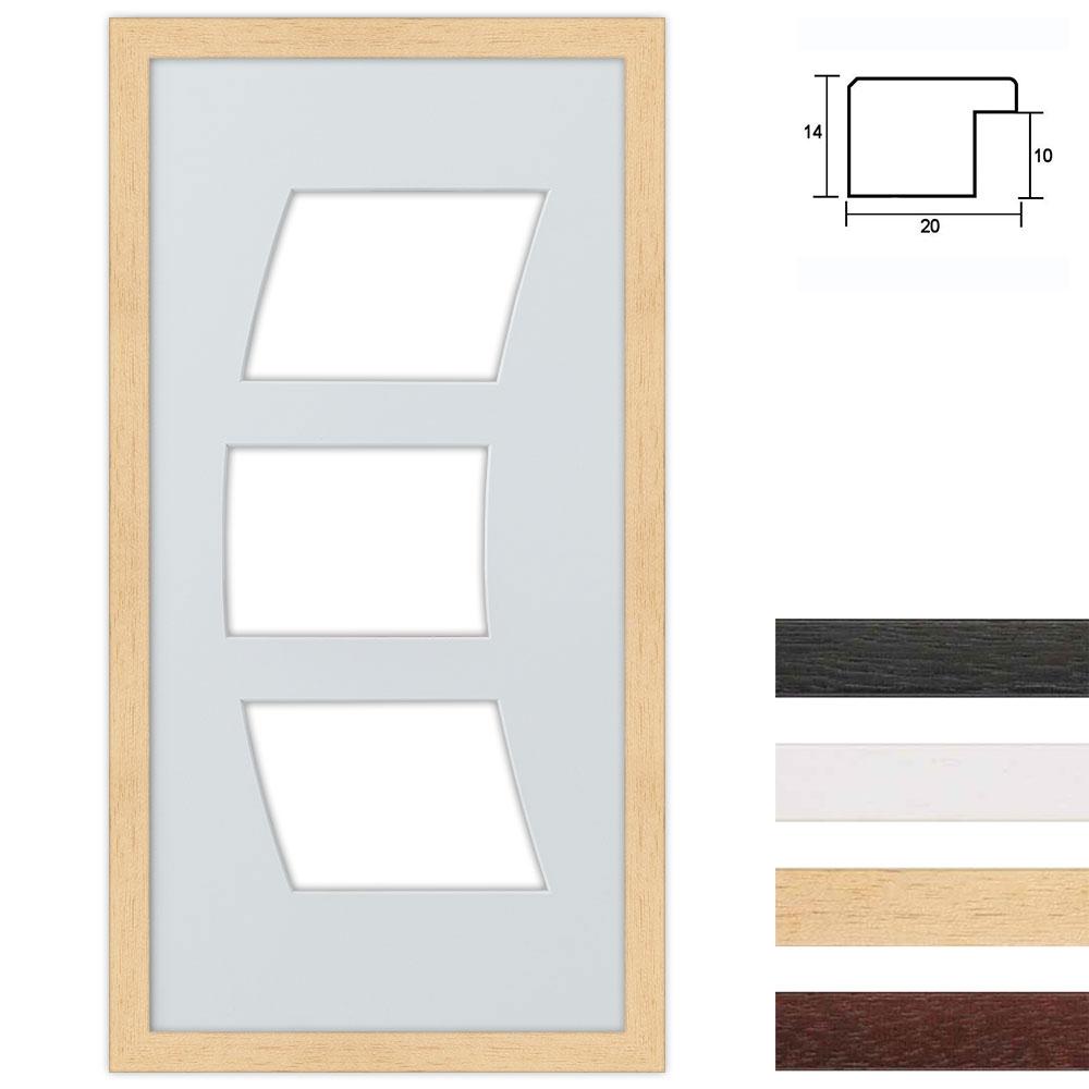 3er Galerierahmen aus Holz in 25x50 cm Bogenausschnitt