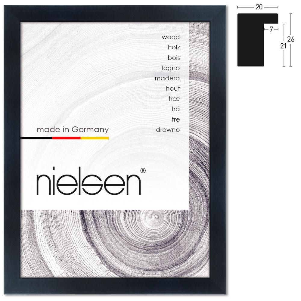 nielsen holzrahmen blackwoods 20x26 21x29 7 cm a4 schwarz leerrahmen ohne glas r ckwand. Black Bedroom Furniture Sets. Home Design Ideas