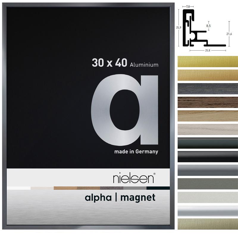 Alu-Bilderrahmen Alpha Magnet 21x29,7 cm (A4) | Silber | Floatglas