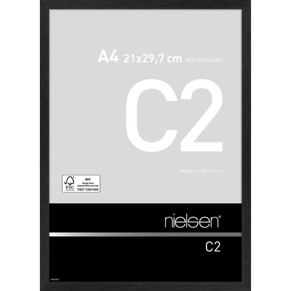 Alurahmen C2 21x29,7 cm (A4)   Struktur Schwarz matt   Normalglas