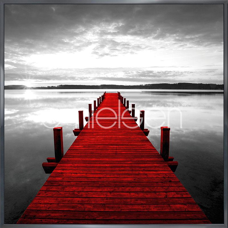 "Gerahmtes Bild ""Footbridge red"" mit Alurahmen Alpha"