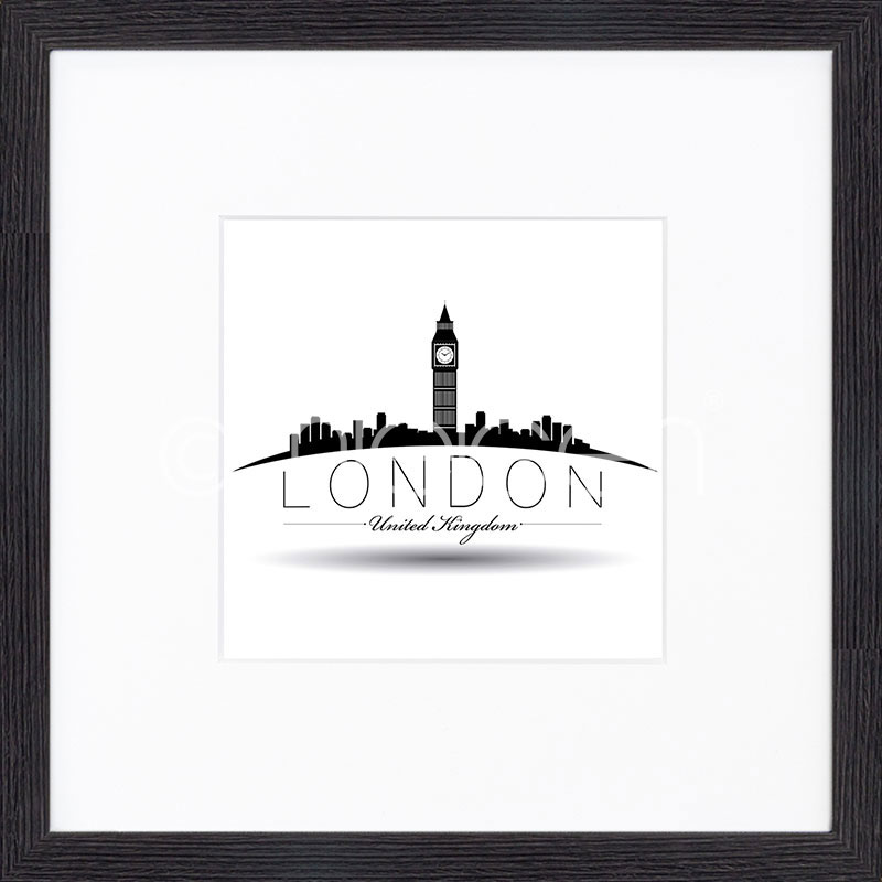 "Gerahmtes Bild ""London"" mit Holzrahmen Quadrum"