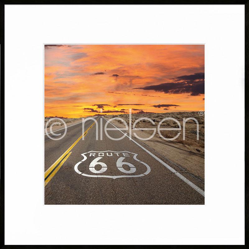 """Gerahmtes Bild """"Route 66"""" mit Alurahmen C2"""