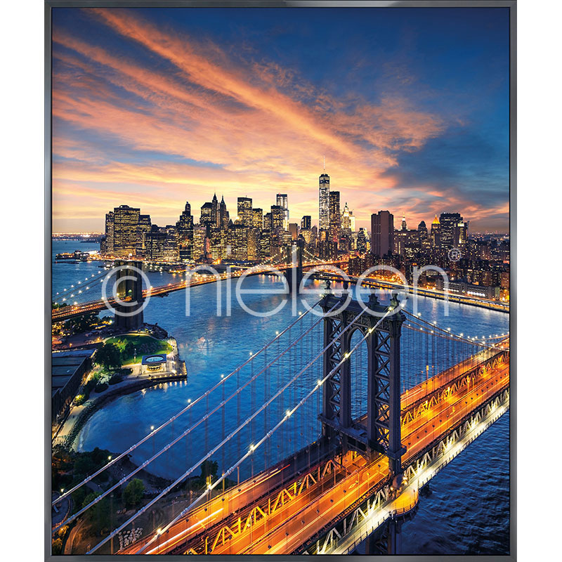 "Gerahmtes Bild ""New York City Sunset"" mit Alurahmen Alpha"