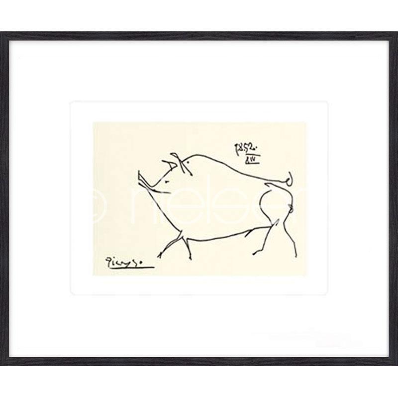 """Gerahmtes Bild """"Le petit cochonPicasso"""" mit Holzrahmen Quadrum"""