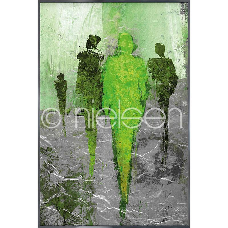 "Gerahmtes Bild ""Abstract Figures Green"" mit Alurahmen Alpha"