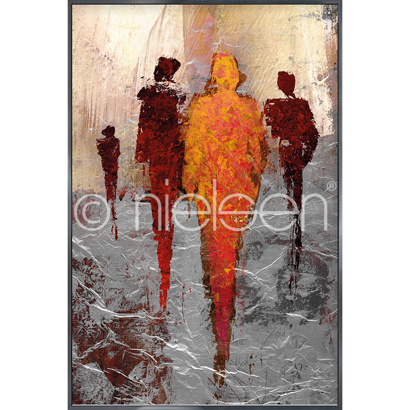 "Gerahmtes Bild ""Abstract Figures Red"" mit Alurahmen Alpha"