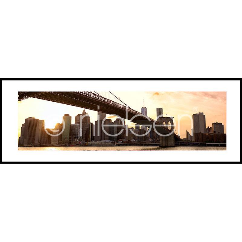 """Gerahmtes Bild """"Brooklyn Bridge Sunset"""" mit Alurahmen C2"""