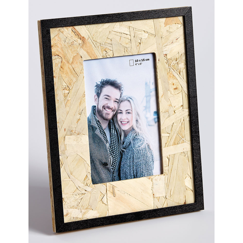 Holz-Fotorahmen CHIP 10x15 cm | braun-schwarz | Normalglas